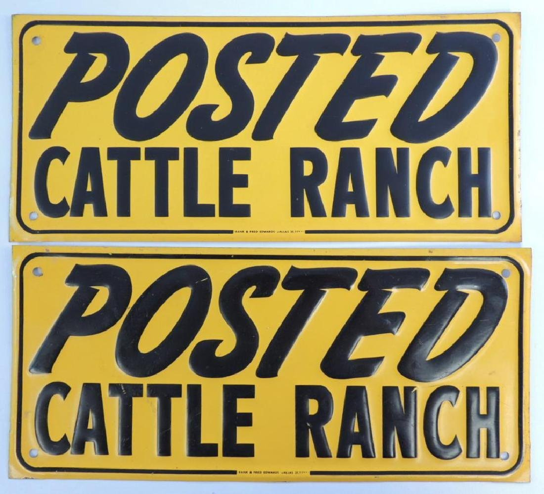 "Group of 2 Vintage ""Posted Cattle Ranch"" Pressed Steel - 4"