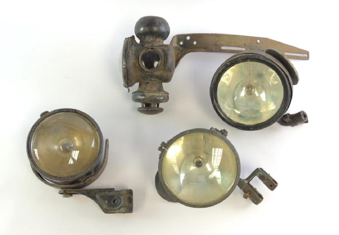 Group of 4 Antique Automobile Headlights