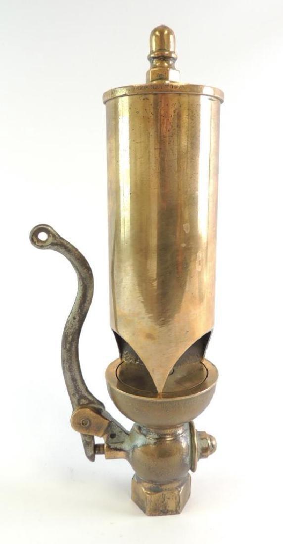 Antique Buckeye Brass Works 3 Valve Brass Steam Whistle