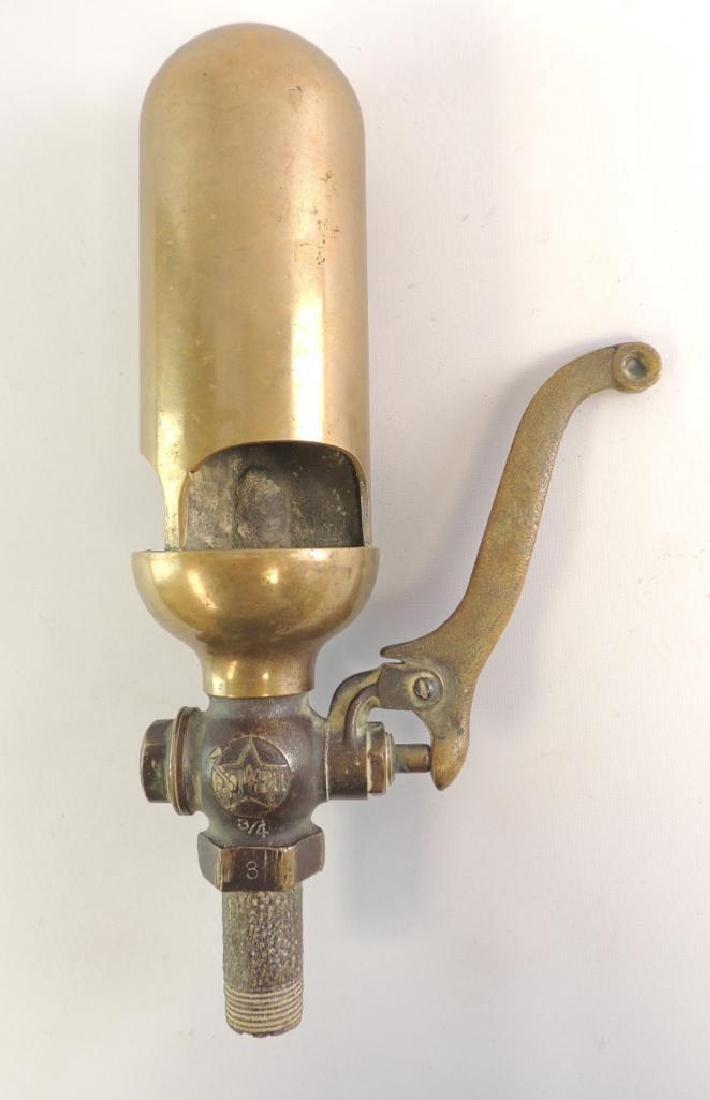 Antique Powell 3 Valve Brass Steam Whistle