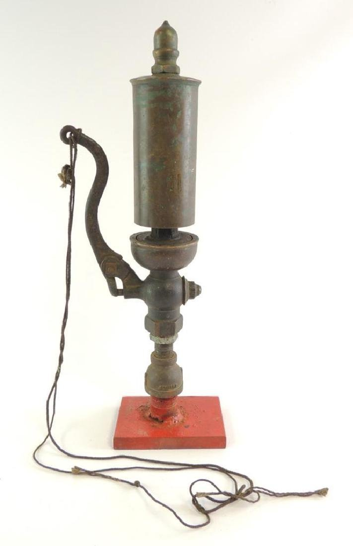 Antique Single Valve Brass Steam Whistle with Stand and