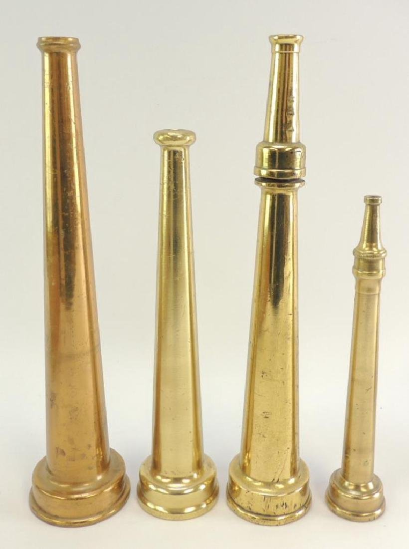 Group of 4 Antique Solid Brass Fire Hose Nozzles