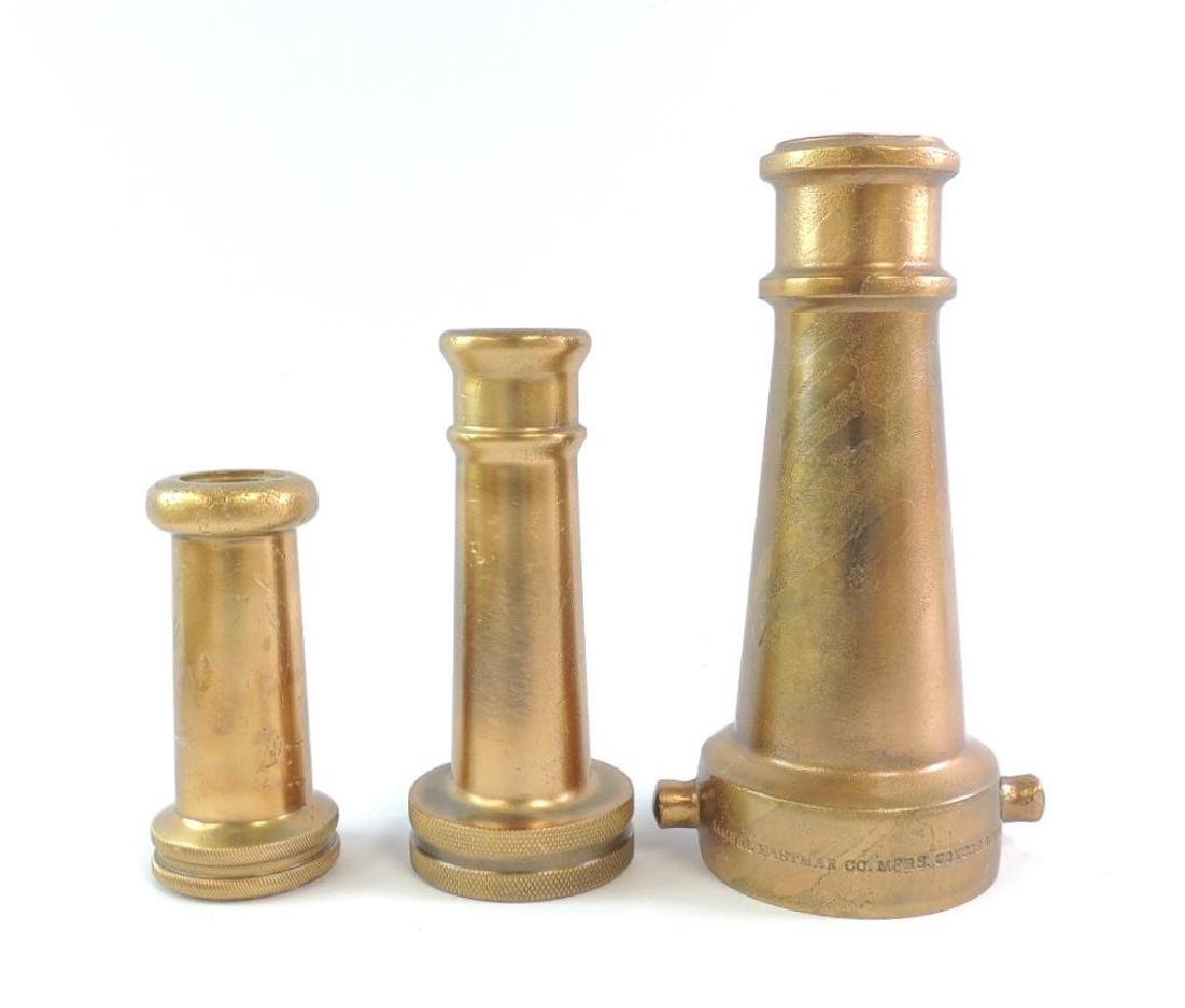 Group of 3 Antique Solid Brass Fire Hose Nozzles
