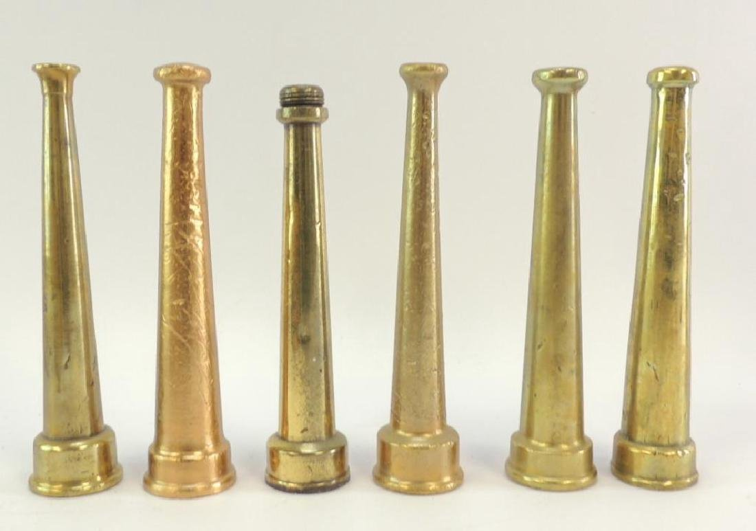Group of 6 Antique Solid Brass Fire Hose Nozzles