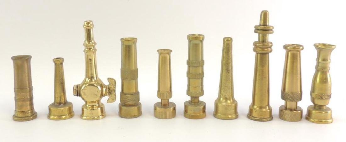 Group of 10 Antique Solid Brass Fire Hose Nozzles