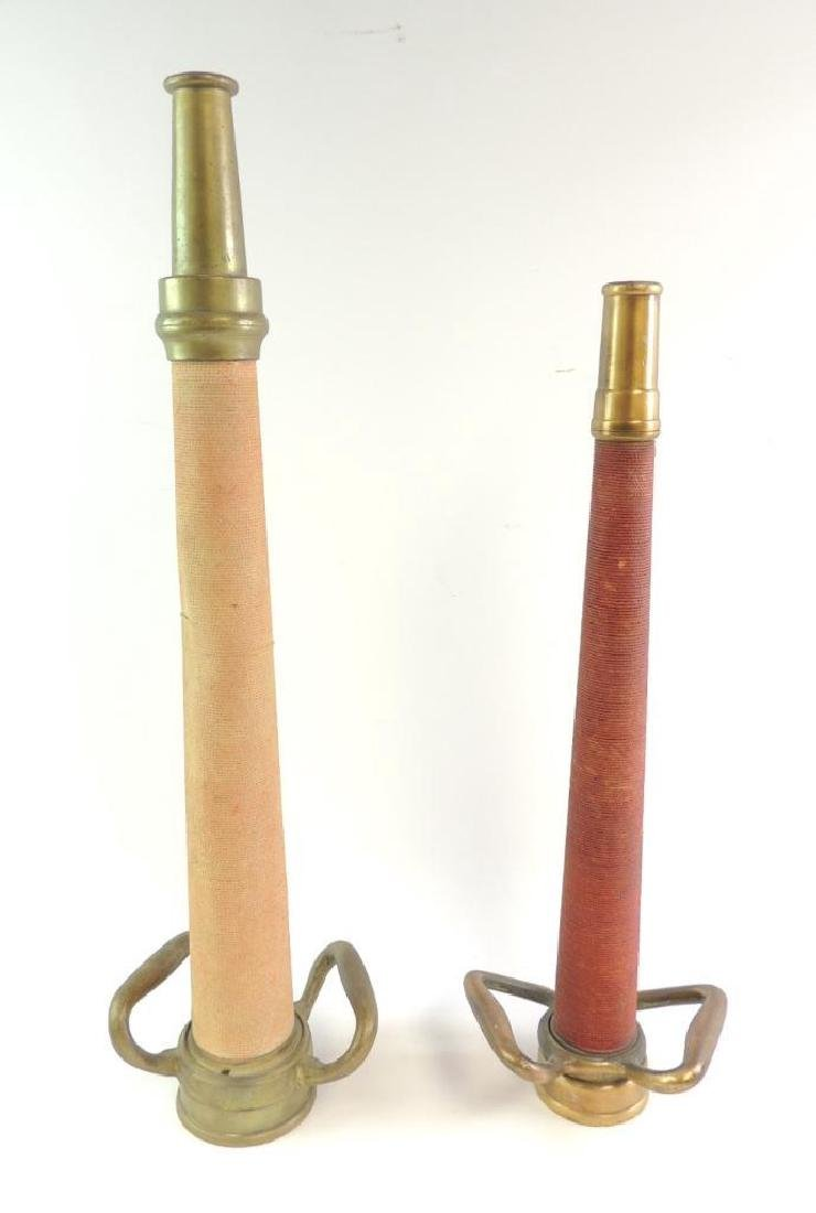 Group of 2 Antique Solid Brass Fire Hose Nozzles