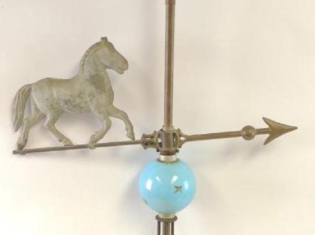 Antique Lightning Rod with Horse Weathervane and Blue