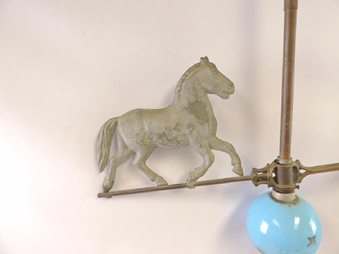 Antique Lightning Rod with Horse Weathervane and Blue - 3