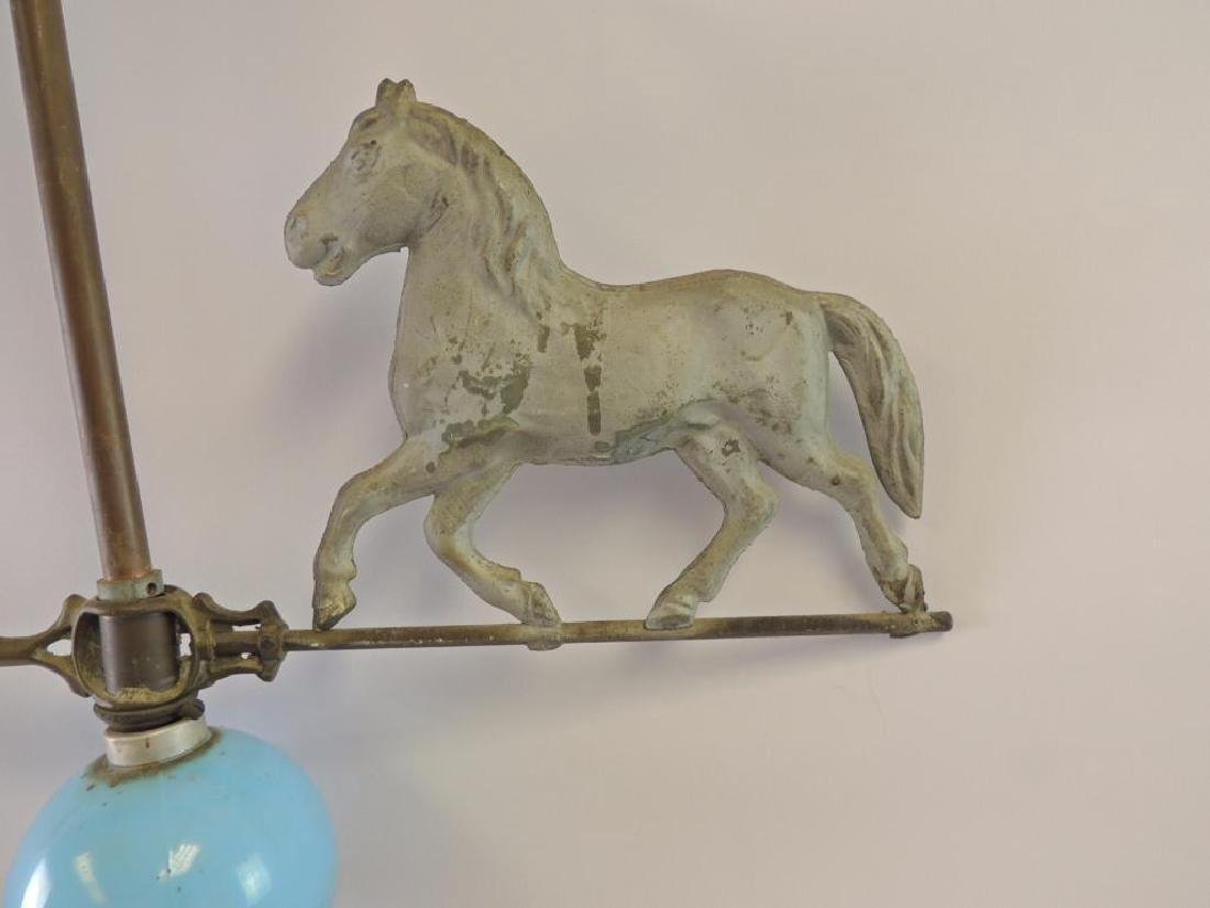 Antique Lightning Rod with Horse Weathervane and Blue - 5