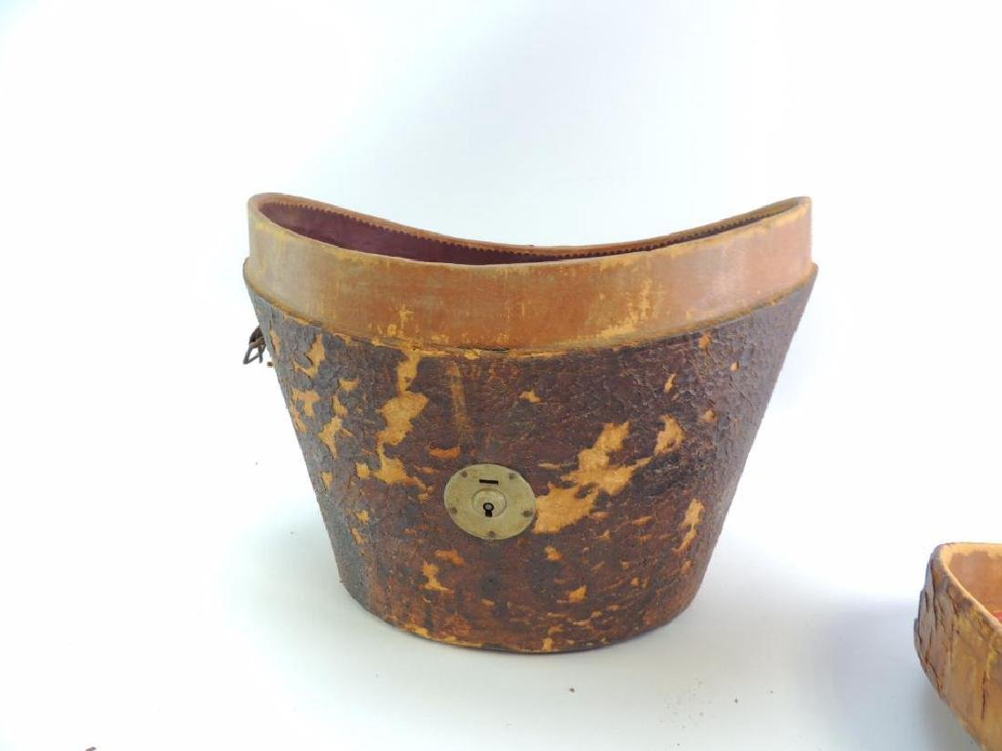 Antique Leather Top Hat Case with Liner - 4