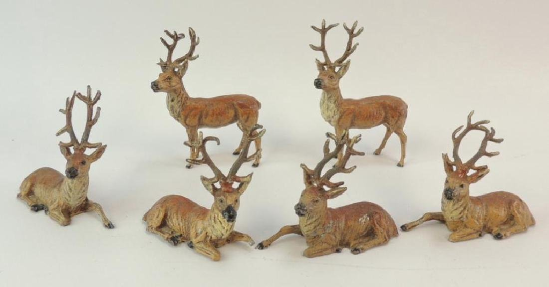 Group of 6 Vintage German Made Metal Reindeer Figurines