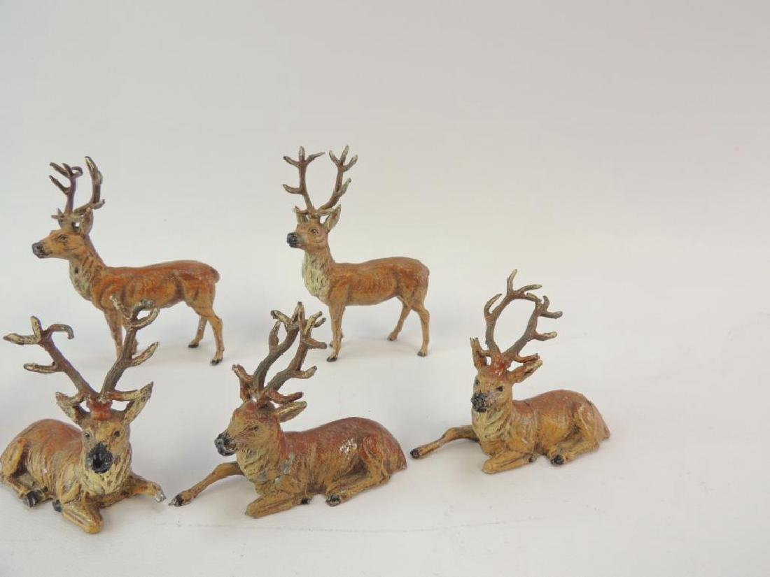 Group of 6 Vintage German Made Metal Reindeer Figurines - 2