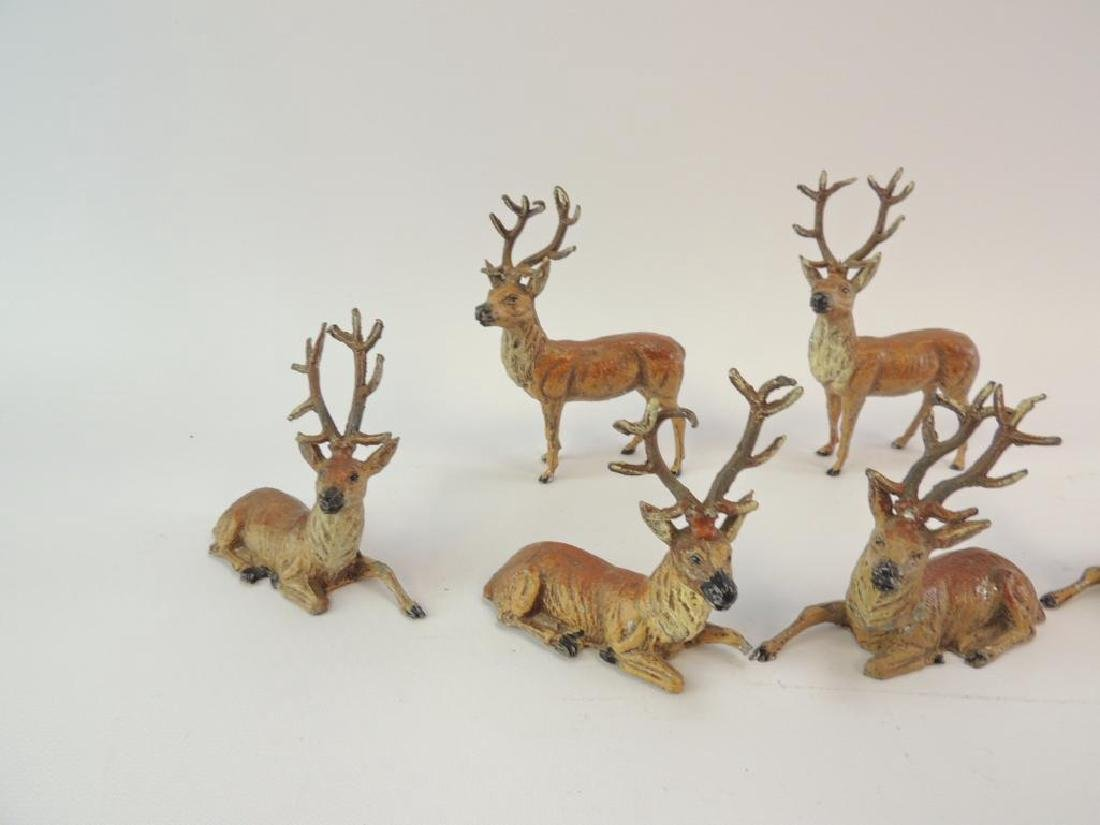 Group of 6 Vintage German Made Metal Reindeer Figurines - 3