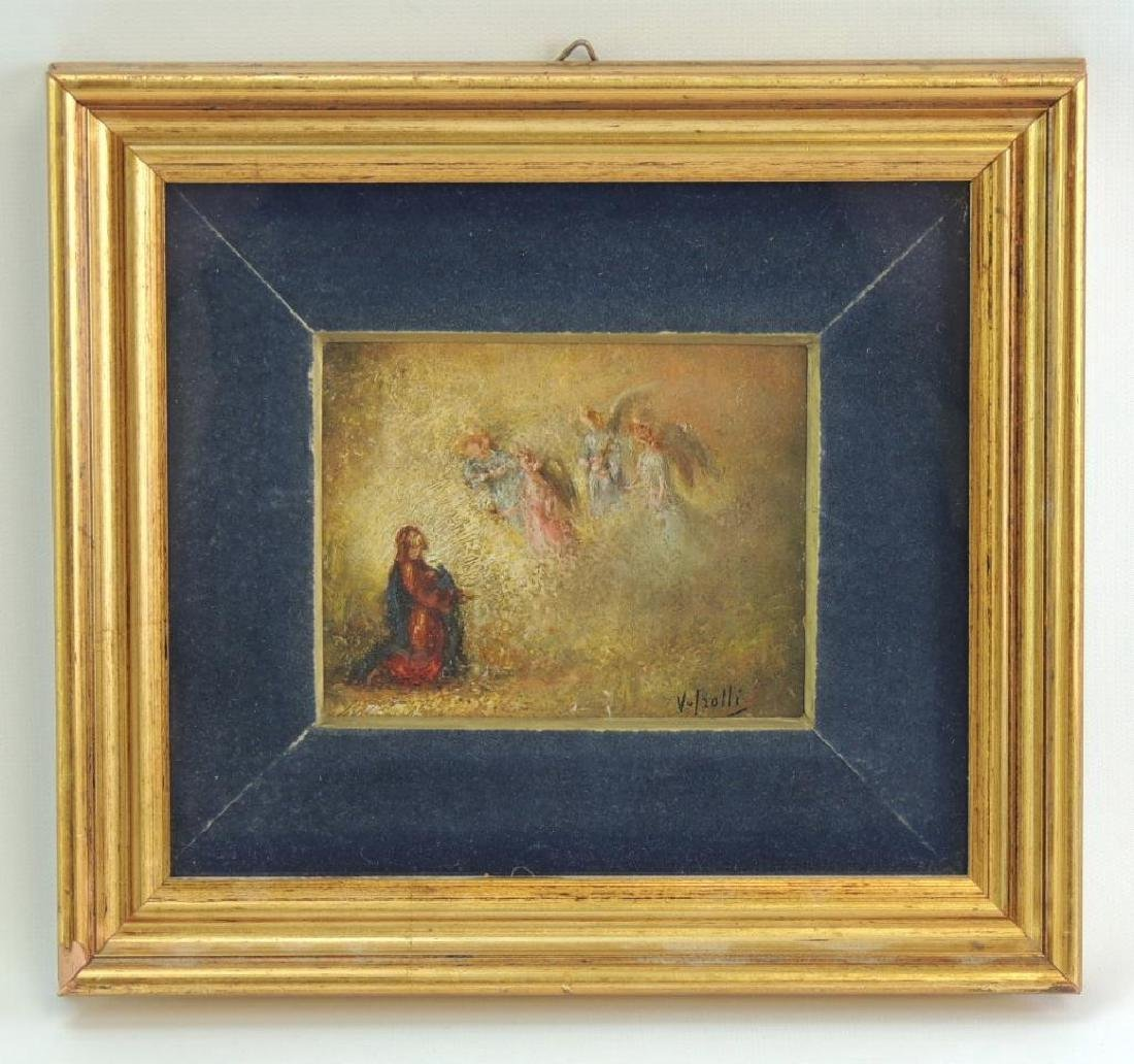 Signed Oil Painting Featuring Angels