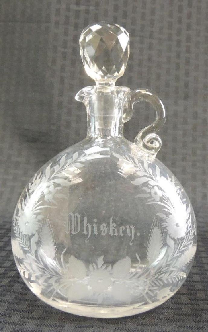 Antique Etched Whiskey Decanter with Faceted Stopper