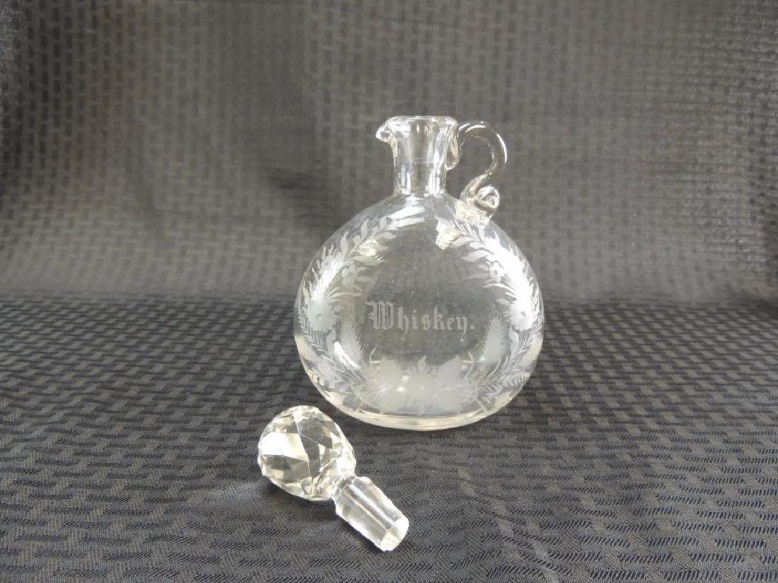 Antique Etched Whiskey Decanter with Faceted Stopper - 3