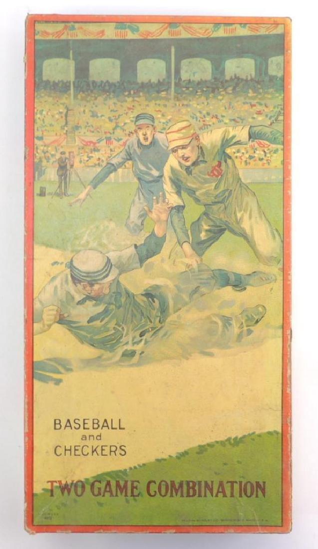 Antique Milton Bradley Co. Baseball and Checkers Board