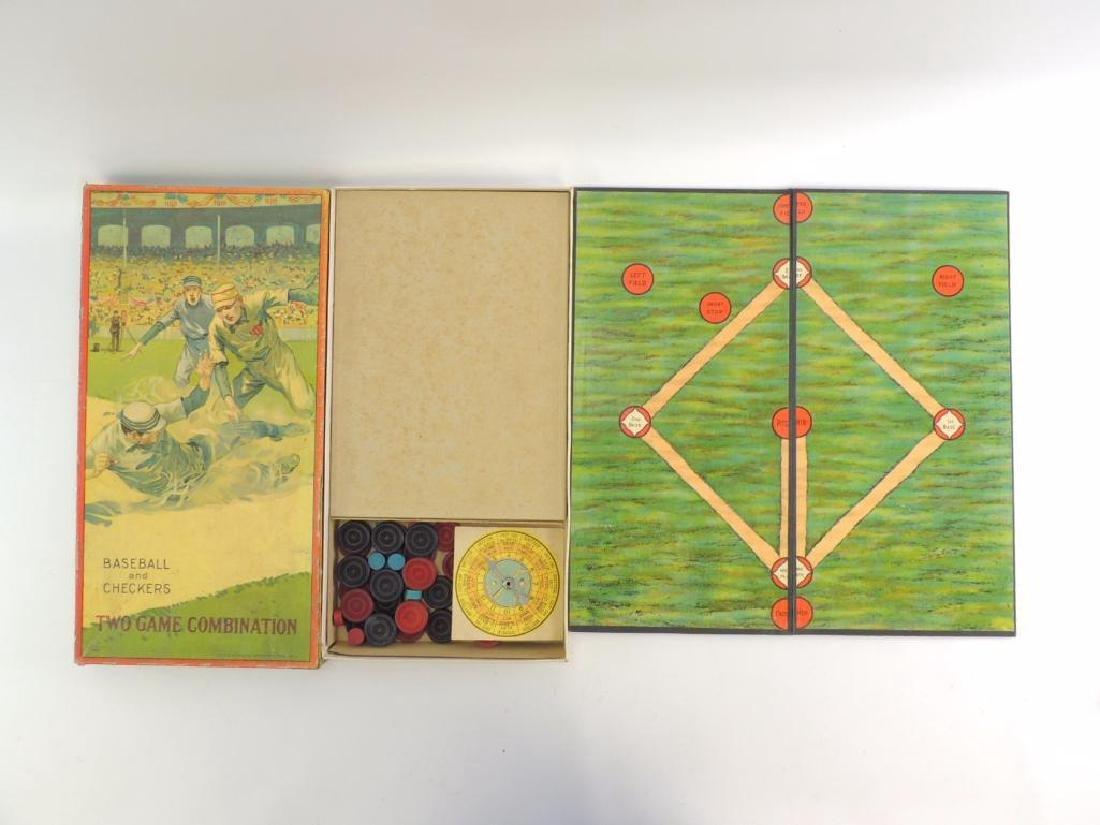 Antique Milton Bradley Co. Baseball and Checkers Board - 3