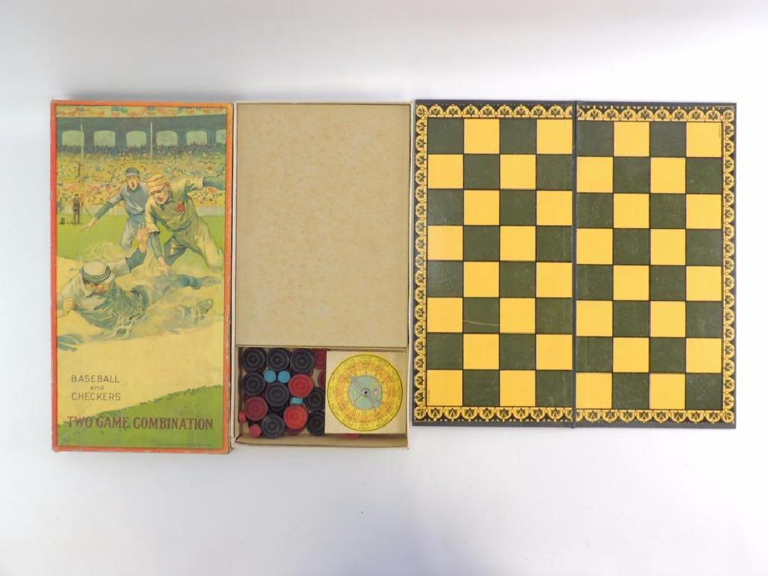 Antique Milton Bradley Co. Baseball and Checkers Board - 4