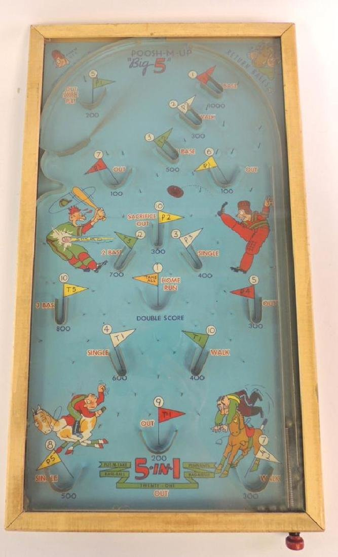 "Vintage (1930's) Poosh-M-Up ""Big 5"" Tabletop Pinball"