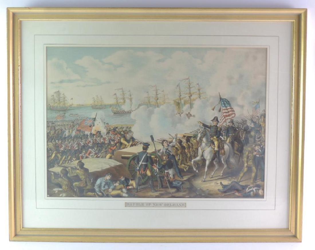"""Antique """"Battle of New Orleans"""" Framed Print"""