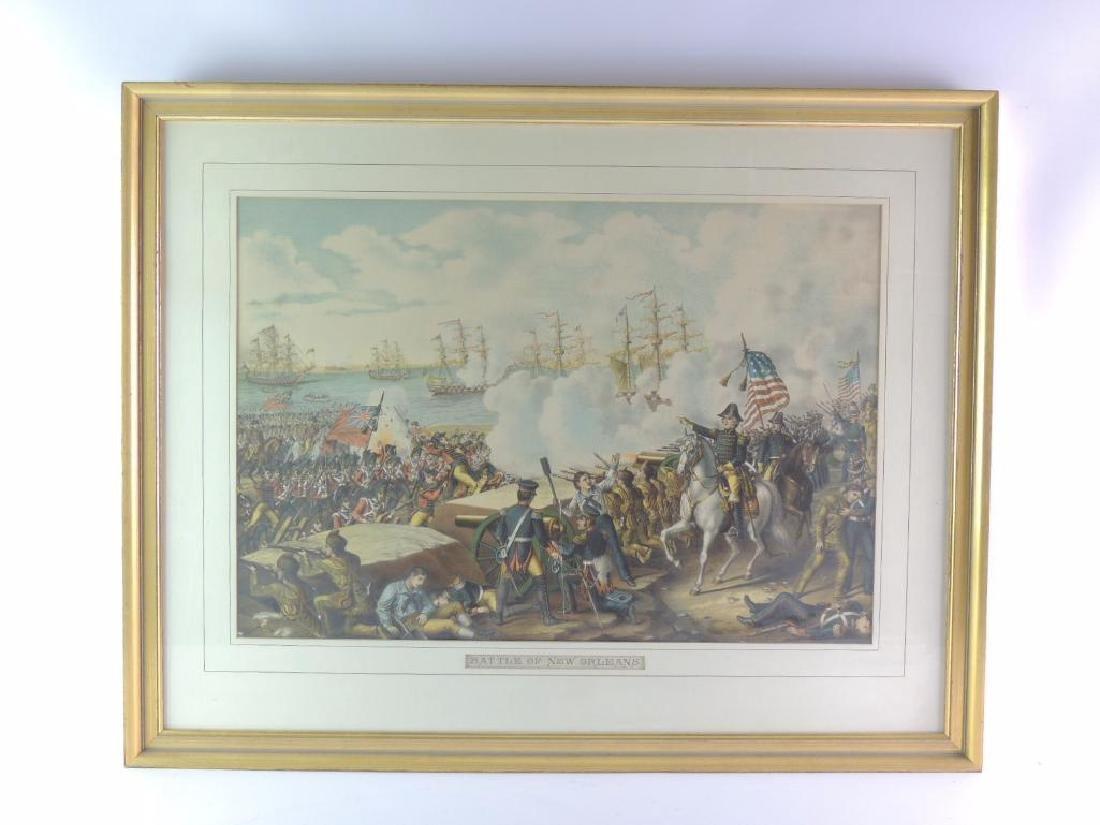 """Antique """"Battle of New Orleans"""" Framed Print - 2"""
