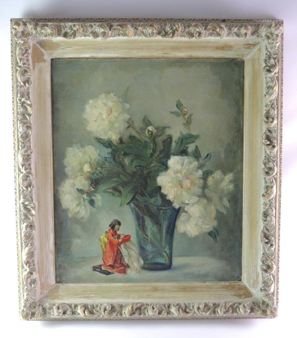 Antique Oil Painting Featuring Vase with Flowers and