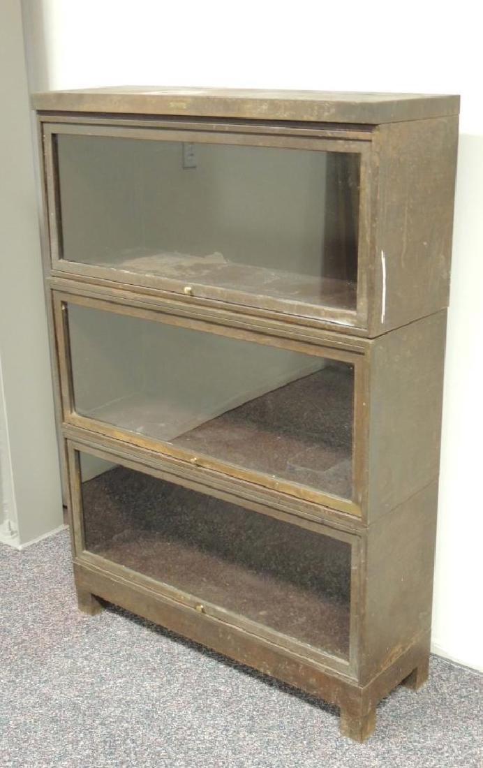 Vintage Steelcase Industrial 3 Stack Glass Door