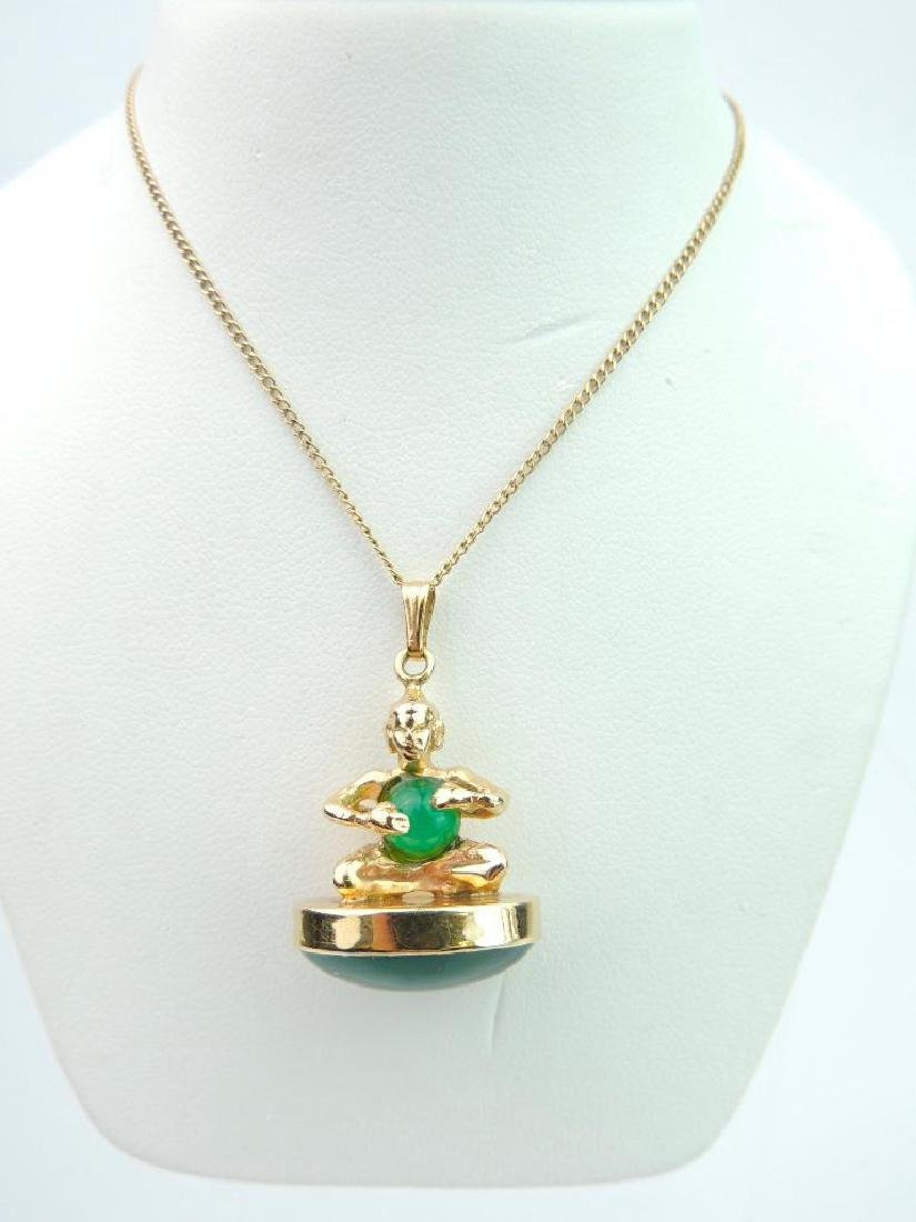 14k Yellow Gold Jade Pendant and Chain