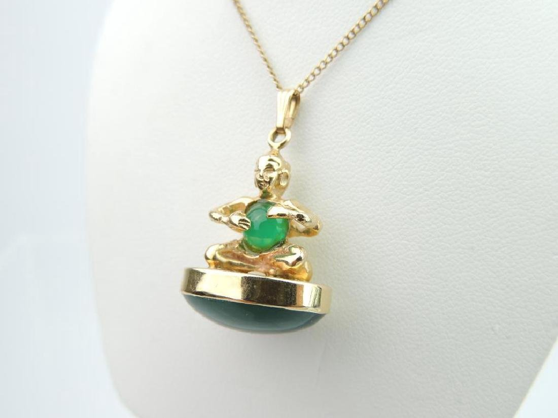 14k Yellow Gold Jade Pendant and Chain - 2