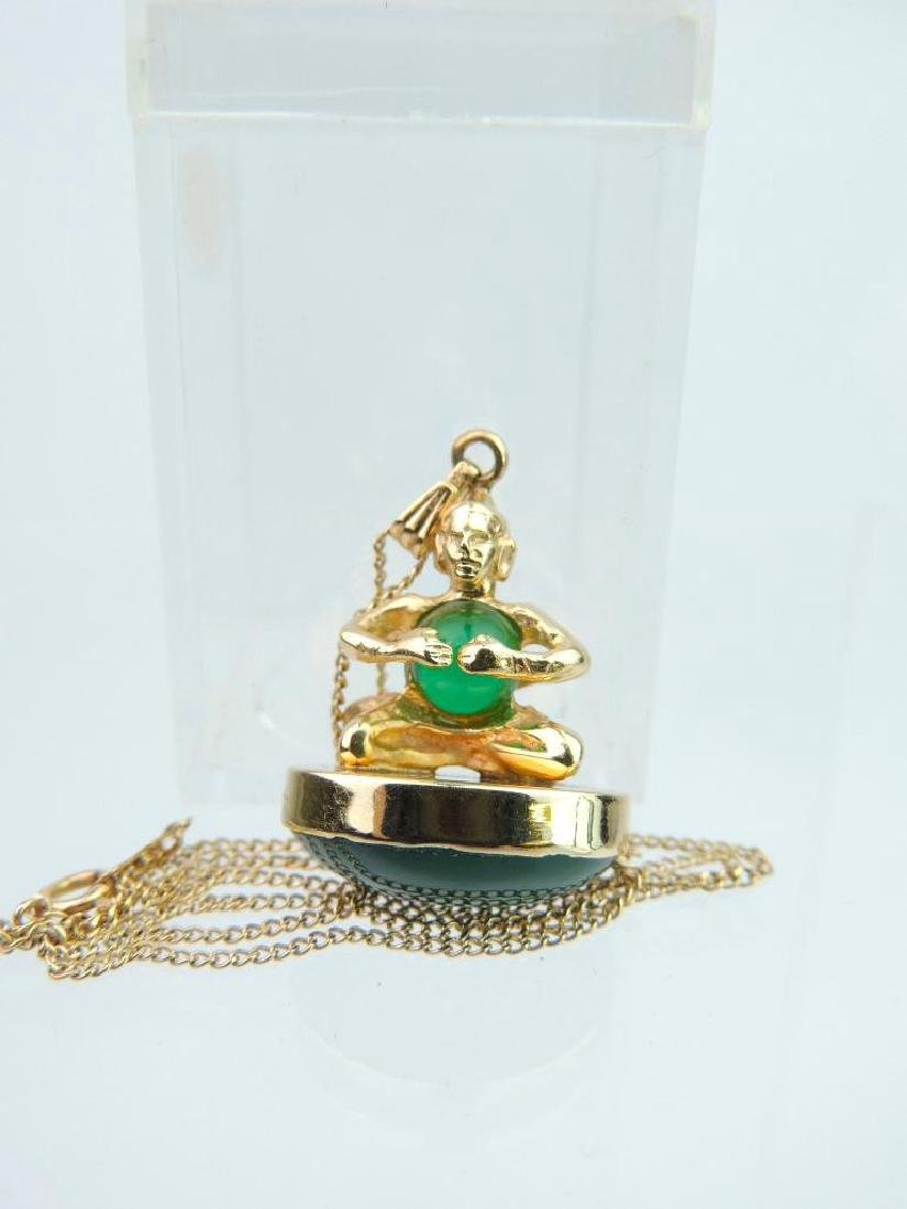 14k Yellow Gold Jade Pendant and Chain - 3