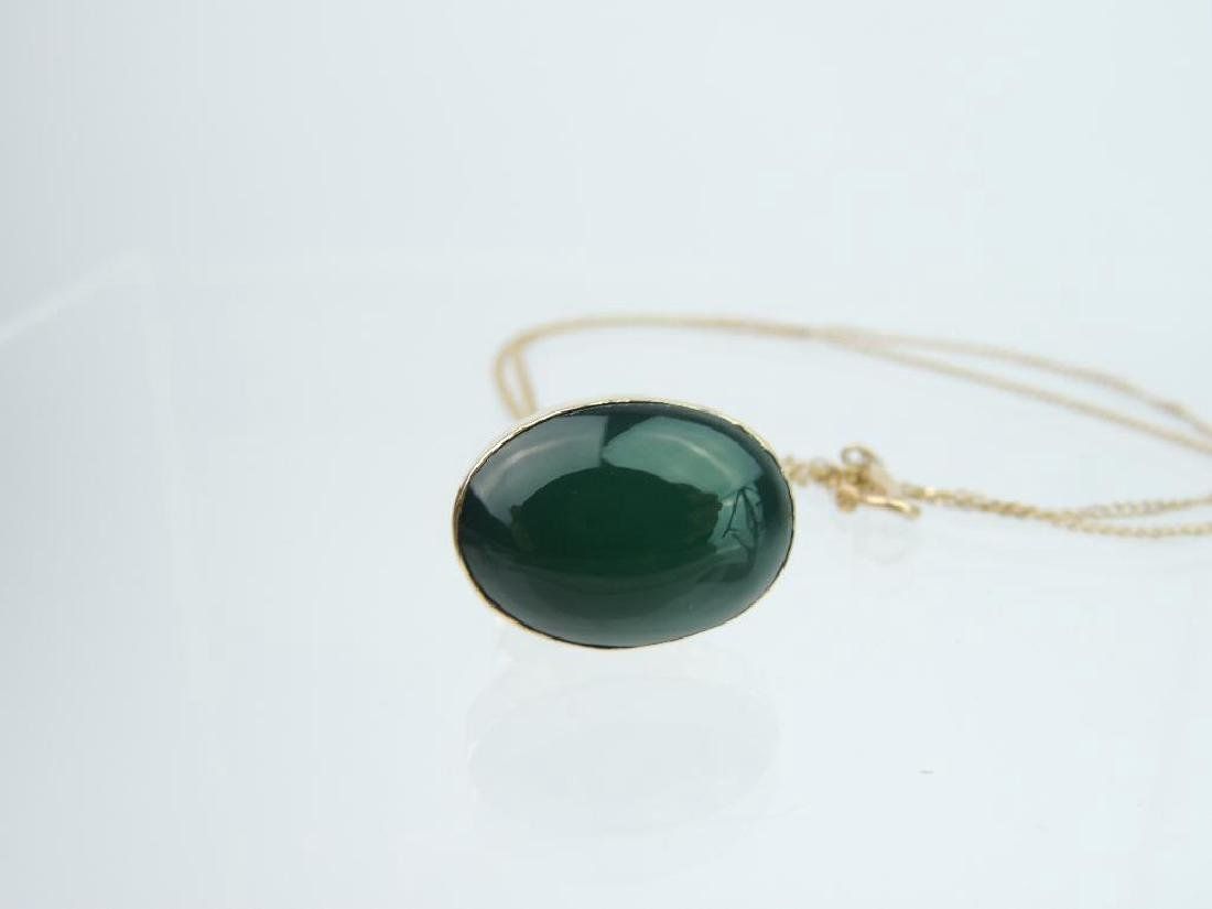 14k Yellow Gold Jade Pendant and Chain - 5