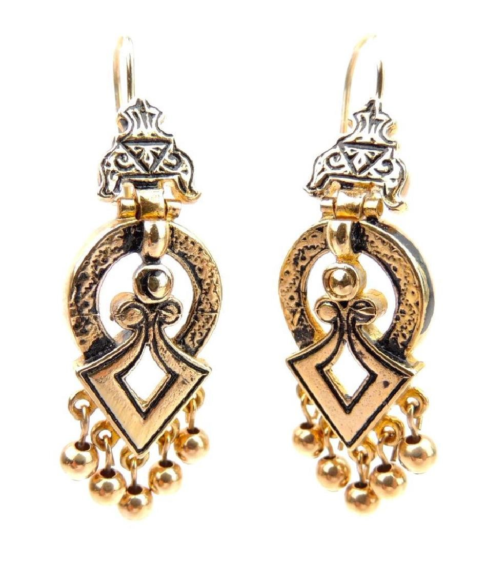 14k Yellow Gold Etruscan Inspired Earrings