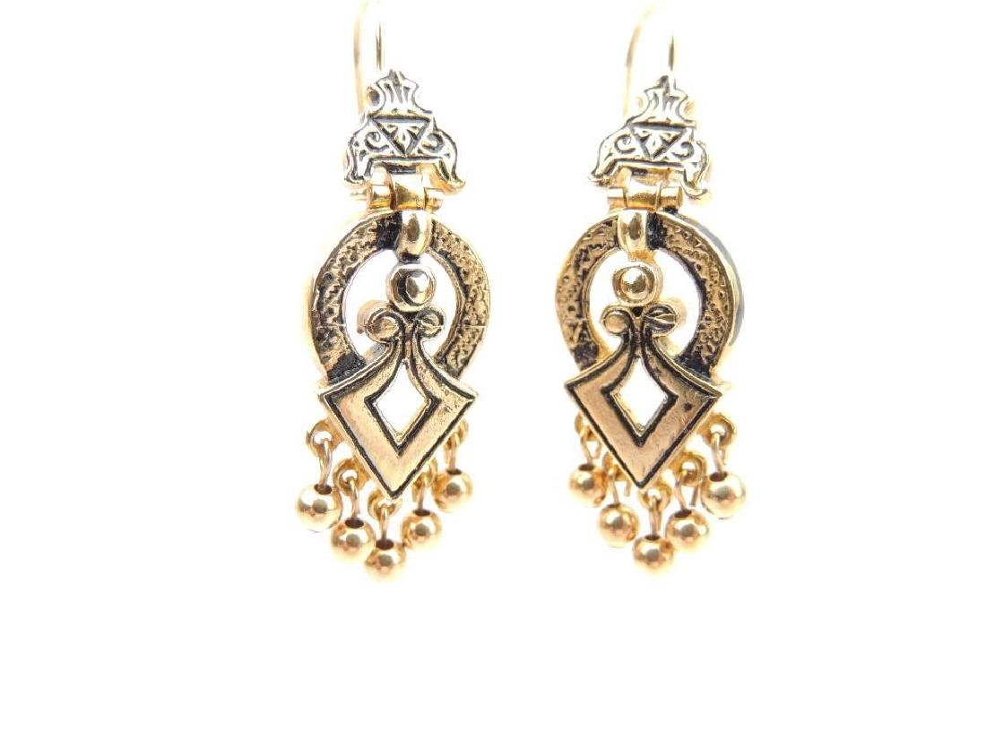 14k Yellow Gold Etruscan Inspired Earrings - 2