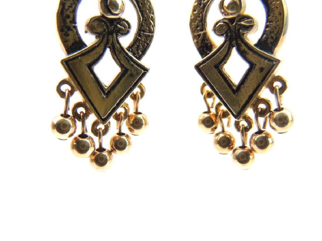 14k Yellow Gold Etruscan Inspired Earrings - 3