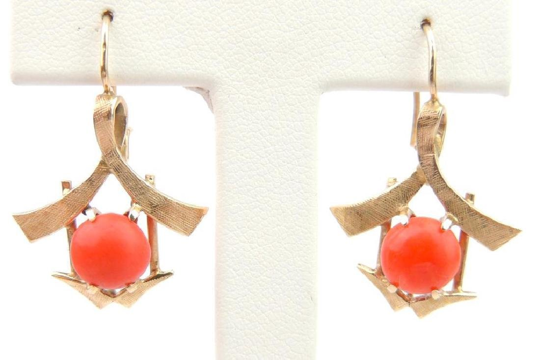 14k Yellow Gold and Coral Earrings