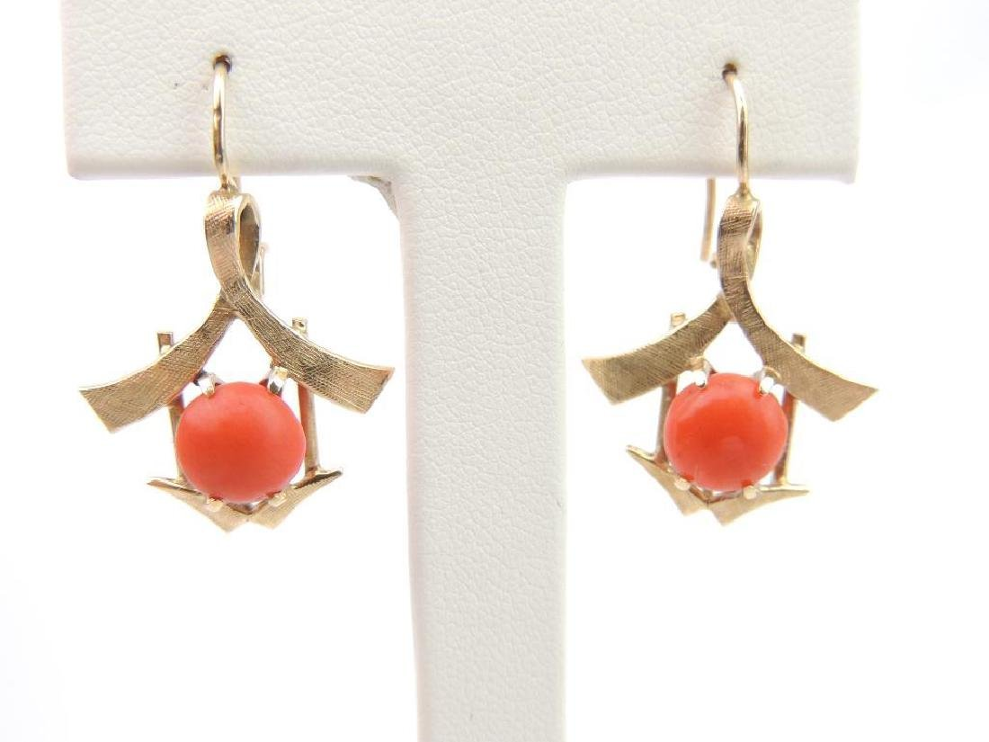 14k Yellow Gold and Coral Earrings - 2