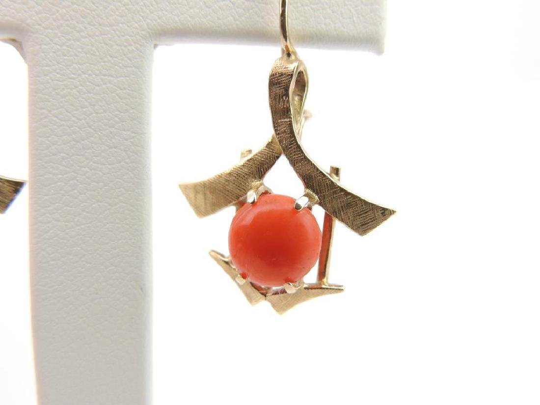 14k Yellow Gold and Coral Earrings - 3