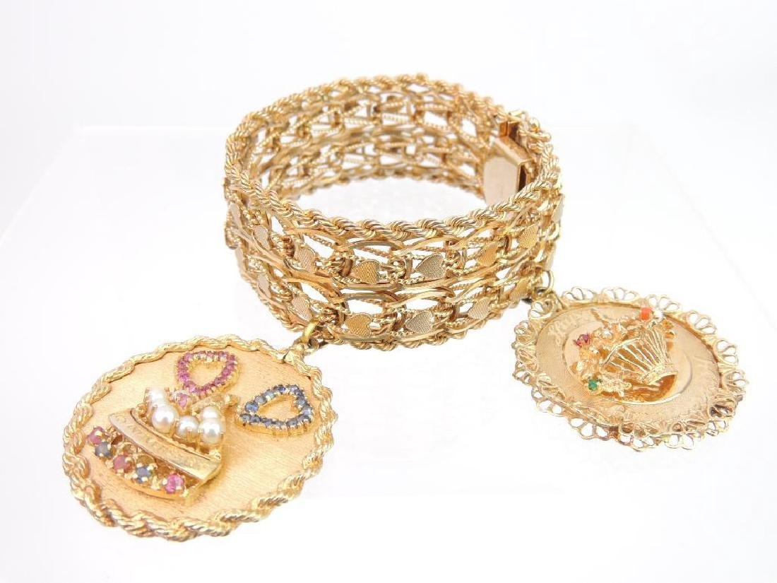 14k Yellow Gold Bracelet and Multi-gem Charms