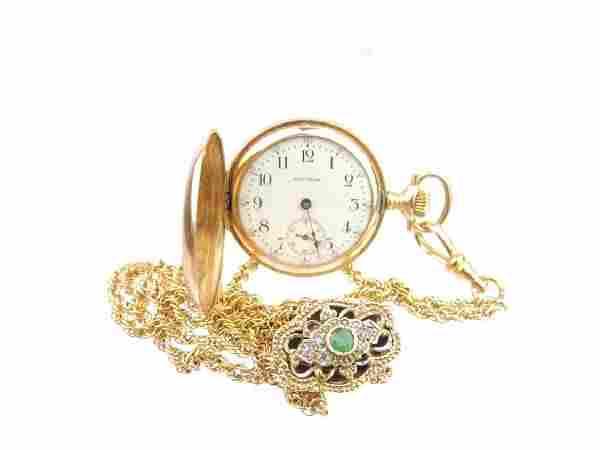 14k and Diamond Waltham Pendant Watch w/14k Chain and