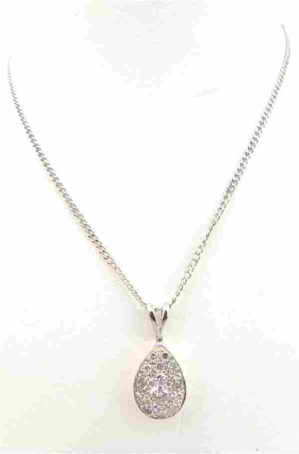 14k White Gold and Diamond Teardrop Pendant