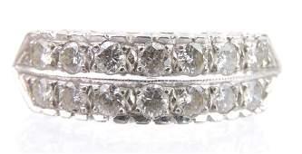 14k White Gold Double Row Diamond Ring