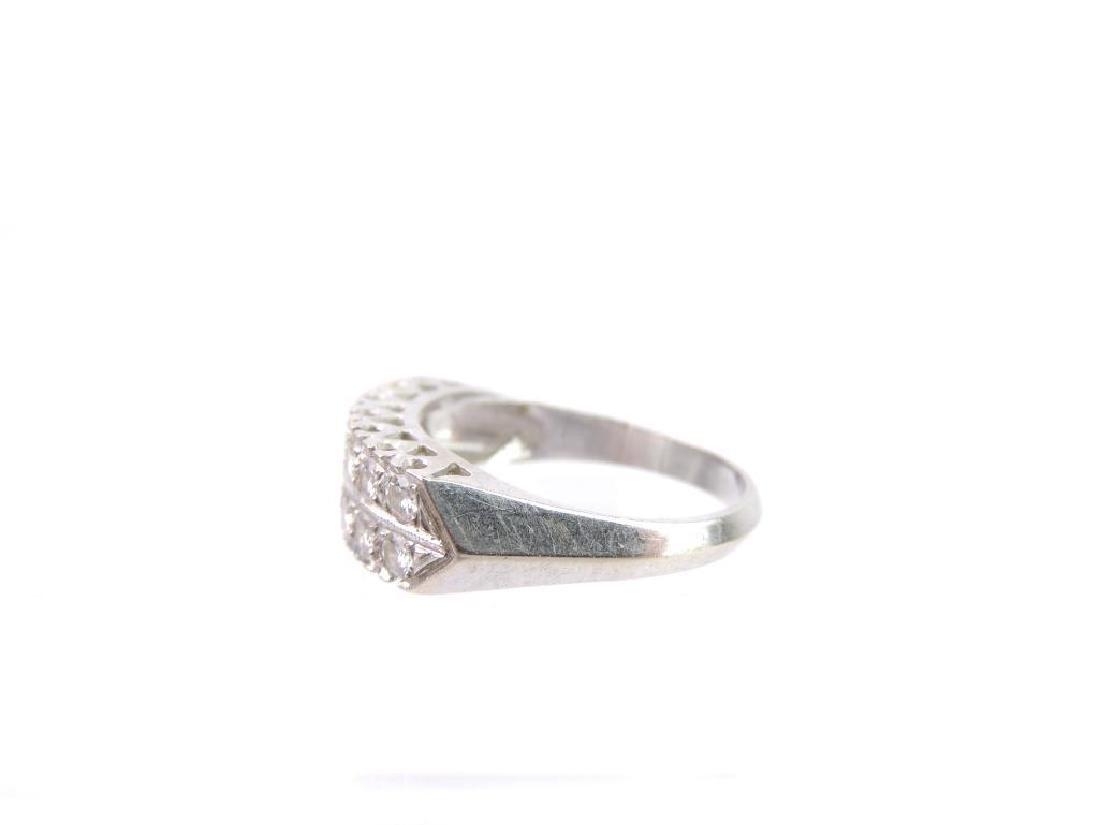 14k White Gold Double Row Diamond Ring - 2