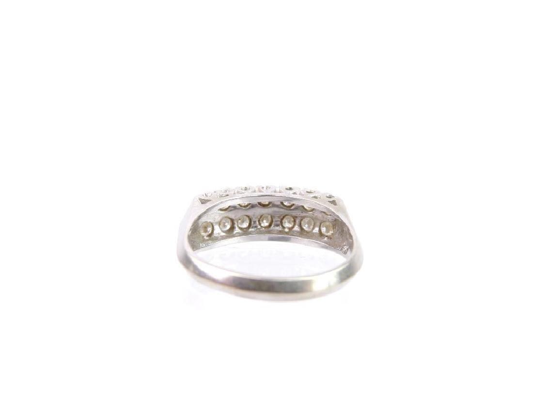 14k White Gold Double Row Diamond Ring - 3