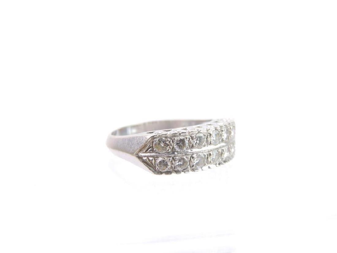 14k White Gold Double Row Diamond Ring - 4
