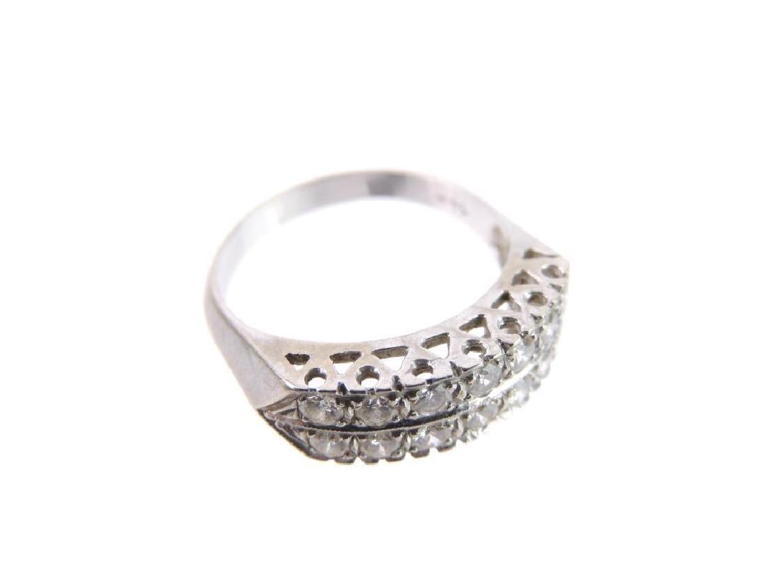 14k White Gold Double Row Diamond Ring - 5