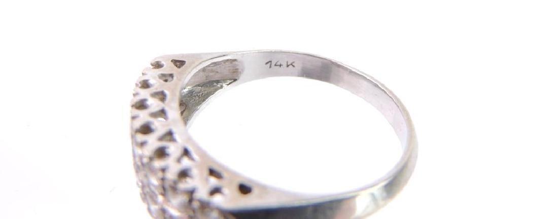14k White Gold Double Row Diamond Ring - 6