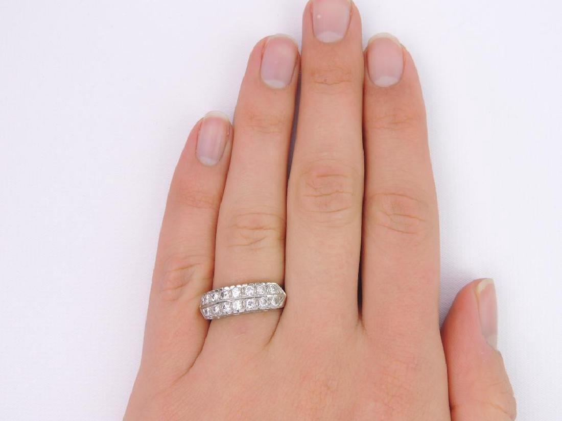 14k White Gold Double Row Diamond Ring - 7