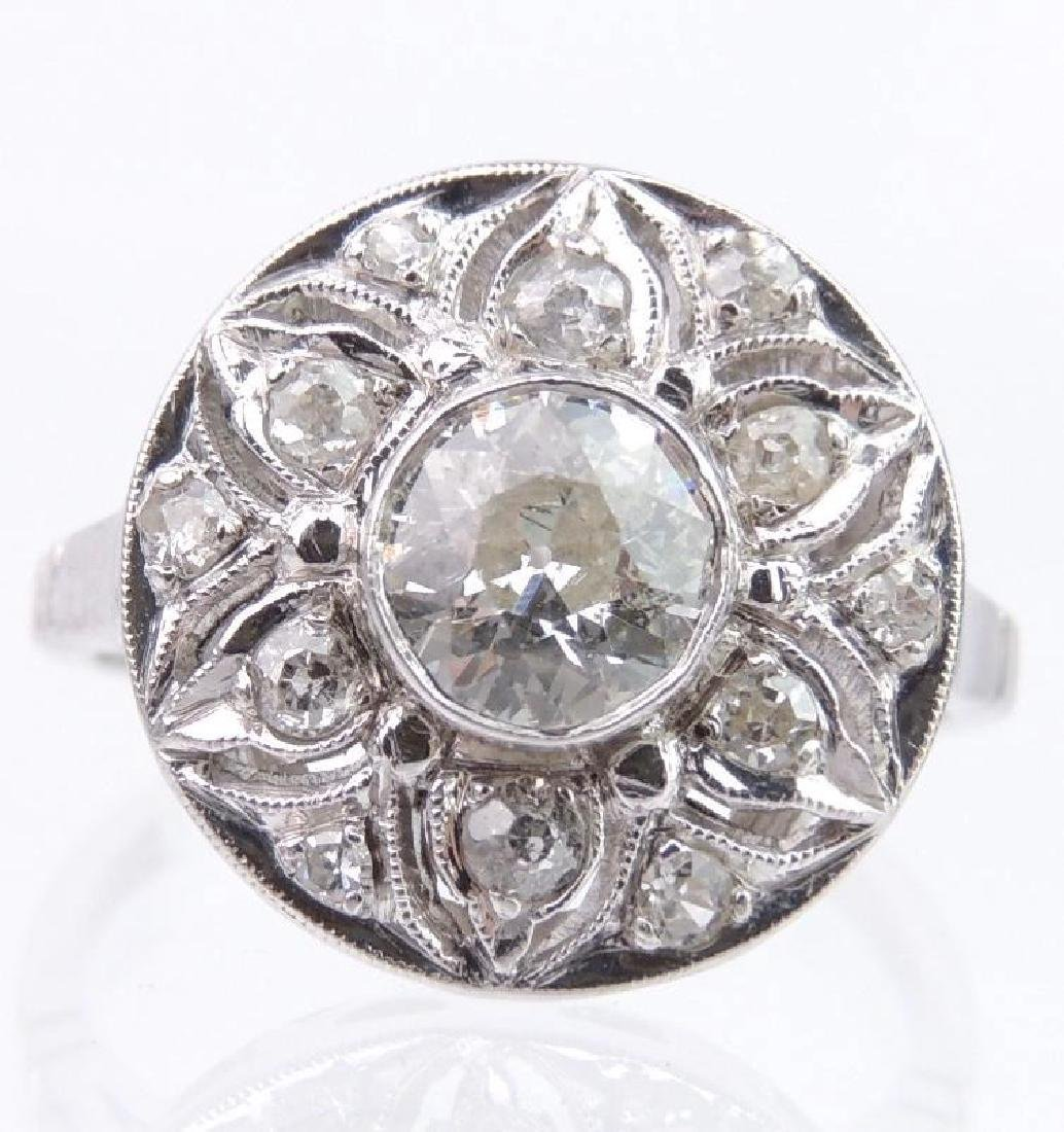 Platinum and Diamond Statement Ring