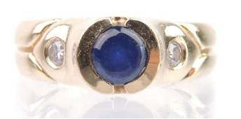14k Sapphire Cabochon and Diamond Ring